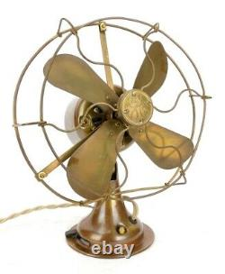1919 General Electric GE All Brass Electric Antique 8 Desk Fan Blade Cage