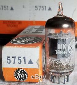 5751 Ge General Electric Nos Nib Vintage Vacuum Tube Sleeve Of 5 12ax7