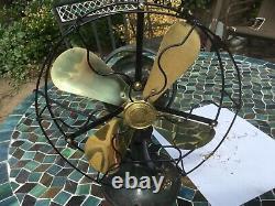 Antique 1919/1920's GE General Electric 9 Brass Blades Whiz Desk Table Fan