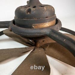 Antique 1920s GE General Electric 16 Brass Blade Exhaust Window Fan Steampunk