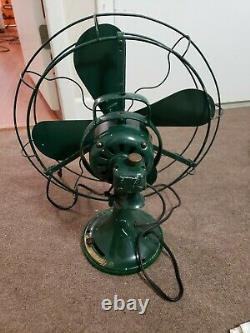 Antique Cast Iron GE General Electric 16 Oscillating Fan with 4 Blades 3 speed