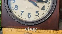 Antique GE General Electric Telechron Wall Clock Mohogany Frame Glass Face