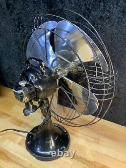 Antique General Electric Vortalex Oscillating Metal Fan Art Deco WORKS USA 1930s