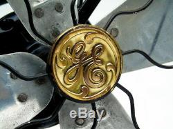 Antique Large 17 inch Brass Mesh General Electric USA Art Deco Vintage Table Fan