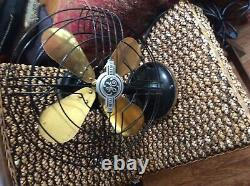 Antique general electric 12 inch brass blade fan three speed works well