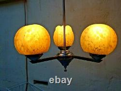 Art Deco 3 Branch Chrome Pendant Light 3 Mottle Glass Drum Shades C1930 Restored