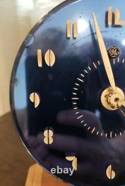 Art Deco Clock Blue Round Ge Vintage Modernism Interior Decor Desk Table # Font