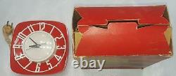 Brand New Gorgeous Vintage Nos Mod General Electric Red Plastic Kitchen Clock