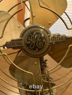 GE Fan Vintage Old Industrial Art Deco Electric 3 Speed Oscillating, Works