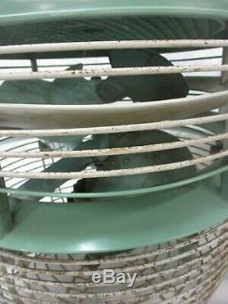 GREEN Vintage General Electric Hassock Floor Table 3 Speed Dual Blade Fan F14F3