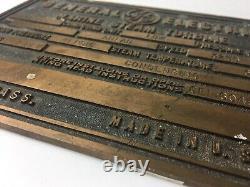 General Electric Marine Steam Turbine Lynn Mass Brass Plate Vintage Bin 29