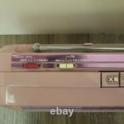General Electric Sidestep Pink Boombox Battery Stereo Cassette 80's Vintage