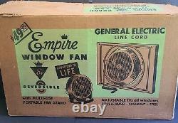 General Electric VINTAGE Empire Dual Purpose Desk Adjustable Window Fan IN BOX