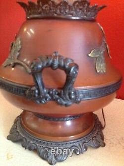 Gorgeous Large Vintage Ornate Parlor Kerosene Oil Lamp Electric Painted Shade