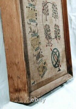 RARE VTG By Hand General Electric Co Canvas & Wood Astrology Wall Clock 28x13
