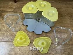 Rare 1930's General Electric G E Refrigerator Jars Lazy Susan Yellow Excellent