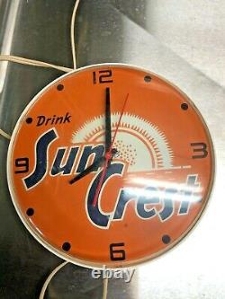 Rare Vintage General Electric Drink Sun Crest Electric Advertising Clock Working