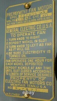 Restored 12 GE General Electric GE Brass Coin Operated Antique Desk Fan Vintage