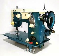 Universal AZZ Super Zig Zag Vintage Sewing Machine Blue W Pedal Tested & Works