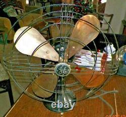 VINTAGE GE GENERAL ELECTRIC 16 FAN BRASS BLADES spec N0. 78x233 WORKS fine
