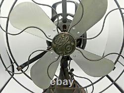 VINTAGE GE GENERAL ELECTRIC DESK FAN 12 Blades Oscillating WORKING Rare