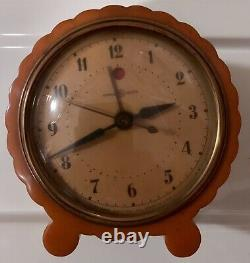 VINTAGE Yellow Catalin Alarm Clock Butterscotch Art Deco excellent