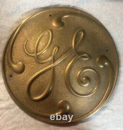 VTG 15'' General Electric GE Brass Turbine Motor Railroad Logo Sign 3706E