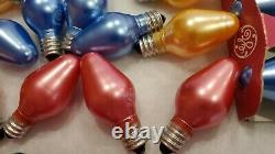 VTG GE Satin Glo C7 Christmas 33 Light Bulbs pearlized pink GE Metallic D23 tstd
