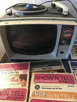 VTG GE Show'N Tell Radio Phono Viewer with 19 Picture Sound Programs Works Video