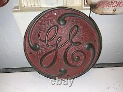 VTG General Electric GE Brass Turbine Motor Railroad Logo Sign Plaque 3706 C