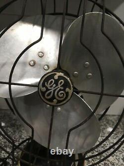 Vintage 10 GE General Electric Oscillating Desk Fan WORKS! Very heavy