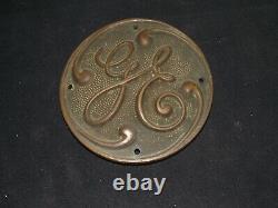 Vintage 1920's General Electric GE Brass Emblem Plaque Nameplate 4 1/2 Diameter