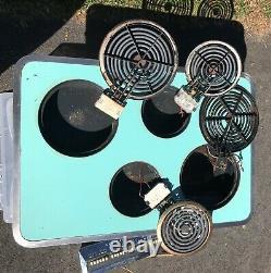 Vintage 1950's GE General Electric Turquoise/Aqua Blue COOKTOP Range Stove MCM