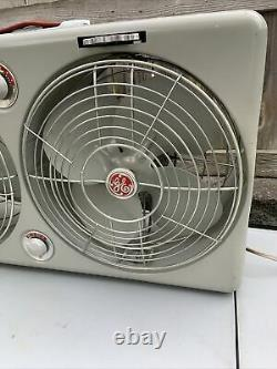 Vintage 1950's General Electric Twin Swivel Box Fan Ventilator withThermo Control