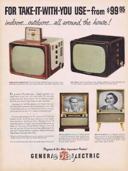 Vintage 1956 GE General Electric Portable 12 television tv alarm clock Rare