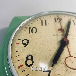 Vintage 50s MCM General Electric Teal Green Kitchen Clock GE 2H20 Tested USA