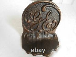 Vintage Antique Rare Pair Cast Iron GE GENERAL ELECTRIC BOOKENDS G E advertising