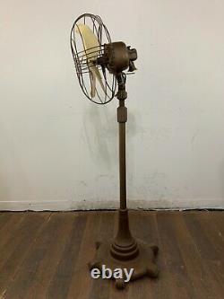 Vintage Art Deco General Electric Vortalex Floor Pedestal Oscilating Fan FM12M1