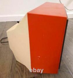 Vintage GE 12 Black & White Television Orange Portable TV General Electric 60s