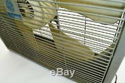 Vintage GE General Electric Metal Box Fan 21.5 3-Speed Gray METAL Frame