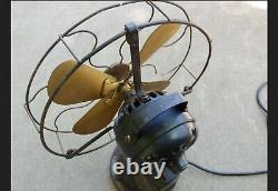 Vintage GE General Electric Pre Payment Coin Op Brass Blade Fan