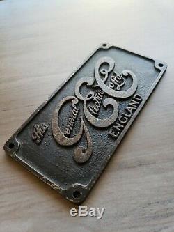 Vintage GEC General Electric Co. Plaque Sign Locomotive England Plate Logo Fan