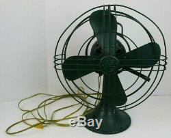 Vintage Ge Fan Green 12'' 75423 272618-1 Oscillating 3 Speed General Electric