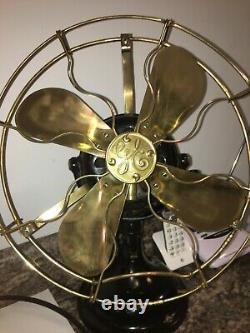 Vintage Ge General Electric Fan Brass Blade/cage Works Great Big Motor Yoke 1910