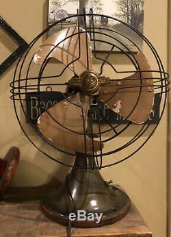 Vintage General Electric 10 Vortalex 2 Speed Oscillating Fan Works
