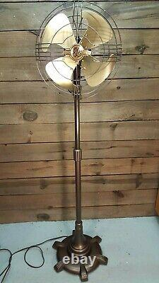 Vintage General Electric 1940s Vortalex Oscillating Pedestal Fan. Art Deco