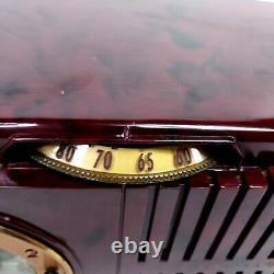 Vintage General Electric 518 Tube Radio Alarm Clock Red Gold Swirl Radio Works