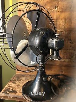 Vintage General Electric Fan Oscillating GE Art Deco Fan 12 Blades 17 H