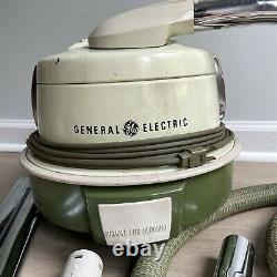 Vintage General Electric GE Canister Vacuum Cleaner P2C14 Retro Green / White
