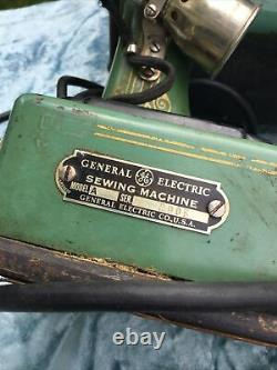 Vintage General Electric GE Green Sewing Machine Model A Featherweight Type